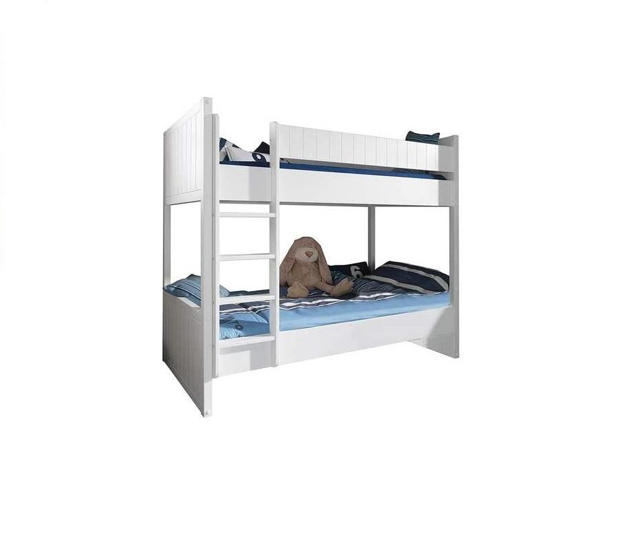 Pat etajat din lemn de pin si MDF pentru copii Robin Alb, 200 x 90 cm somproduct.ro