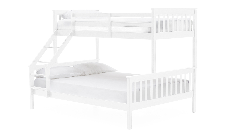 Pat etajat din lemn de pin si MDF pentru copii Salix White 90 / 140 cm