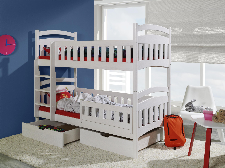 Pat etajat din lemn masiv de pin pentru copii Dominik II