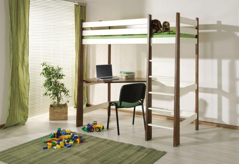 Pat etajat din lemn masiv de pin pentru copii Milosz