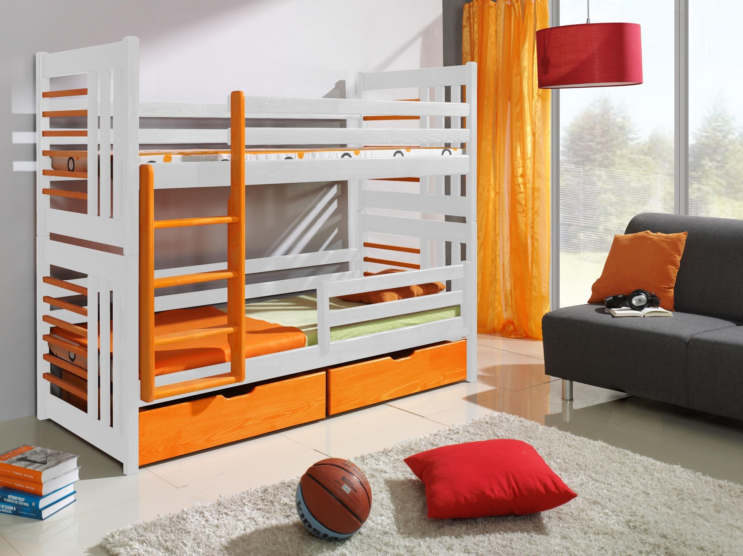 Pat supraetajat din lemn de pin, cu 2 sertare pentru copii Roland, 200 x 90 cm