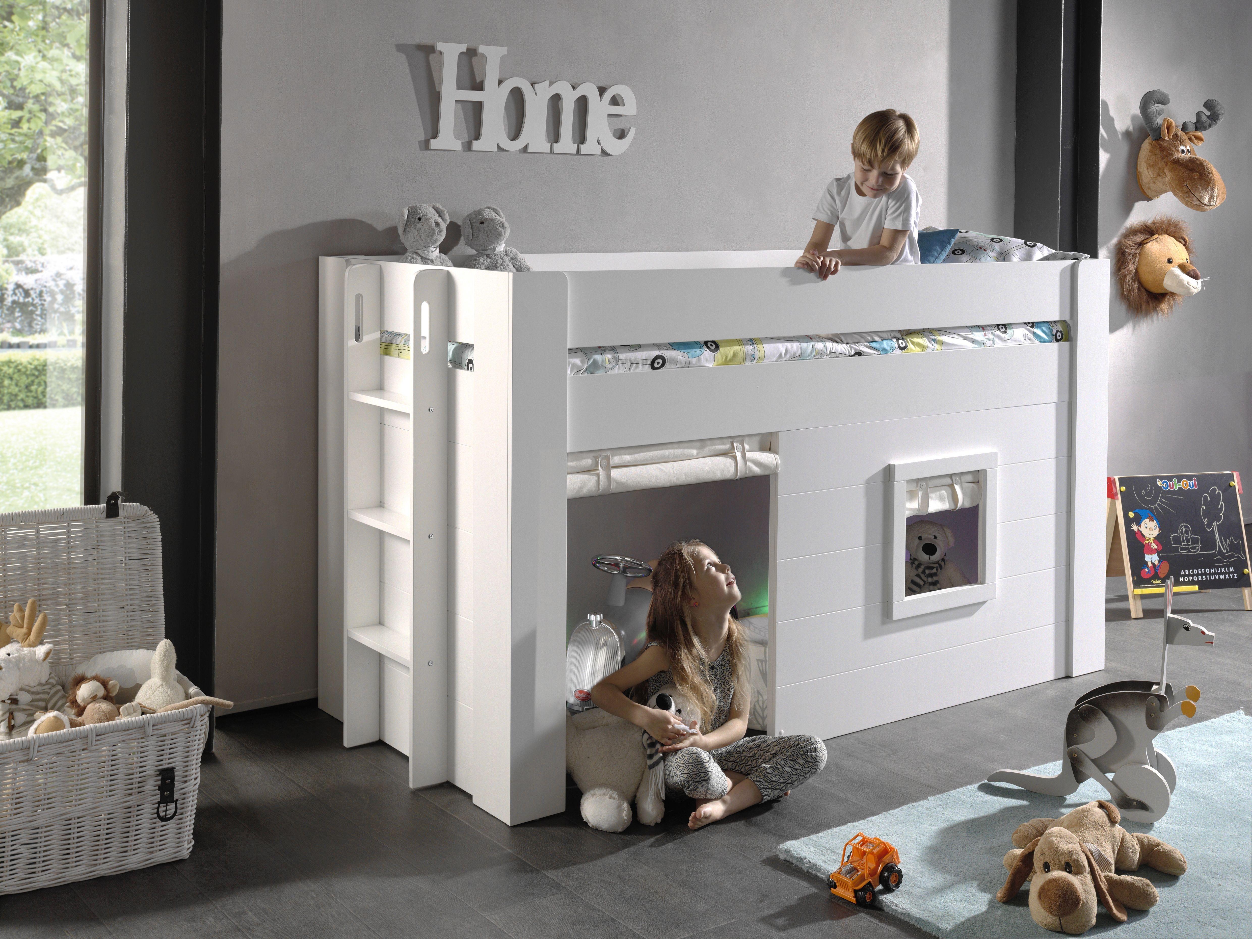 Pat etajat din MDF pentru copii cu spatiu de joaca si perdelute decorative Noah Alb, 200 x 90 cm imagine