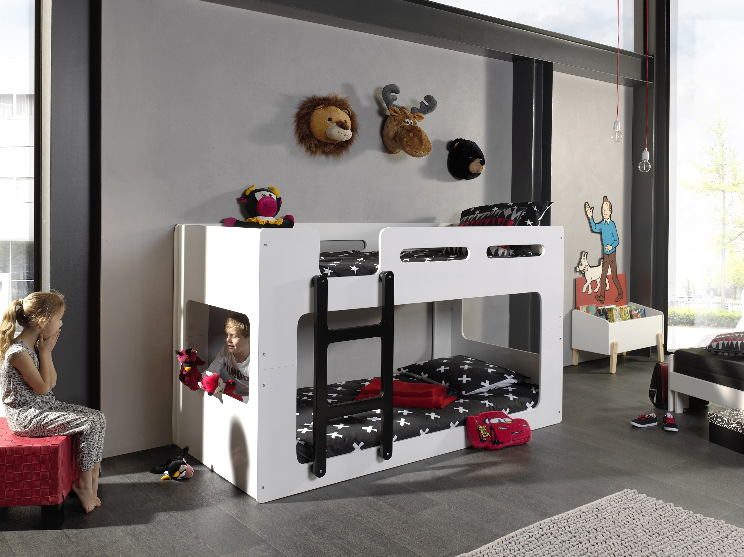 Pat etajat din MDF pentru copii Lucca Alb, 200 x 90 cm imagine