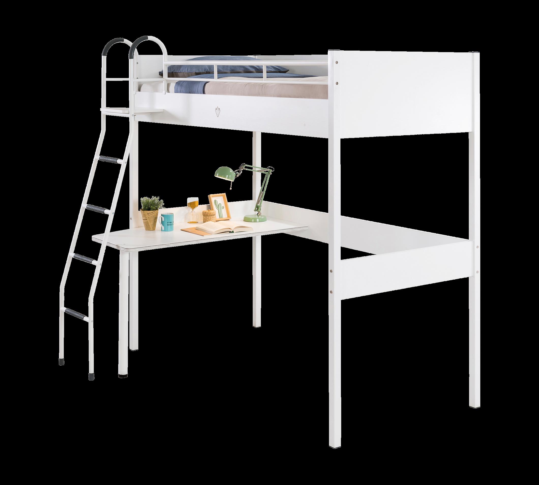 Pat etajat din pal cu birou incorporat pentru tineret White 190 x 90 cm