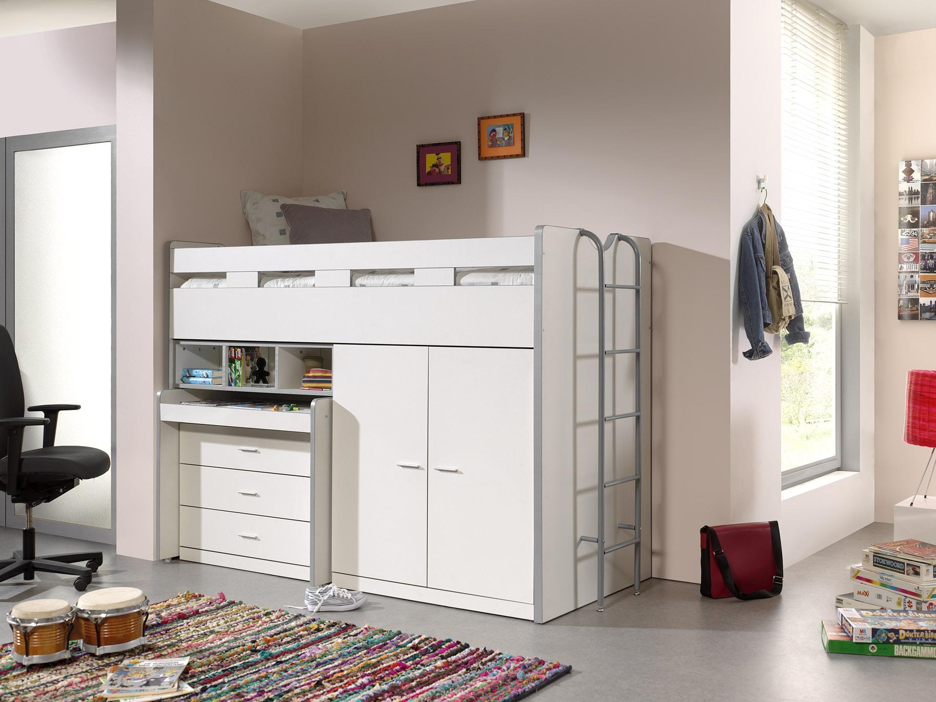 Pat etajat din pal si metal cu birou incorporat, 3 sertare si dulap, pentru copii Bonny High Alb, 200 x 90 cm