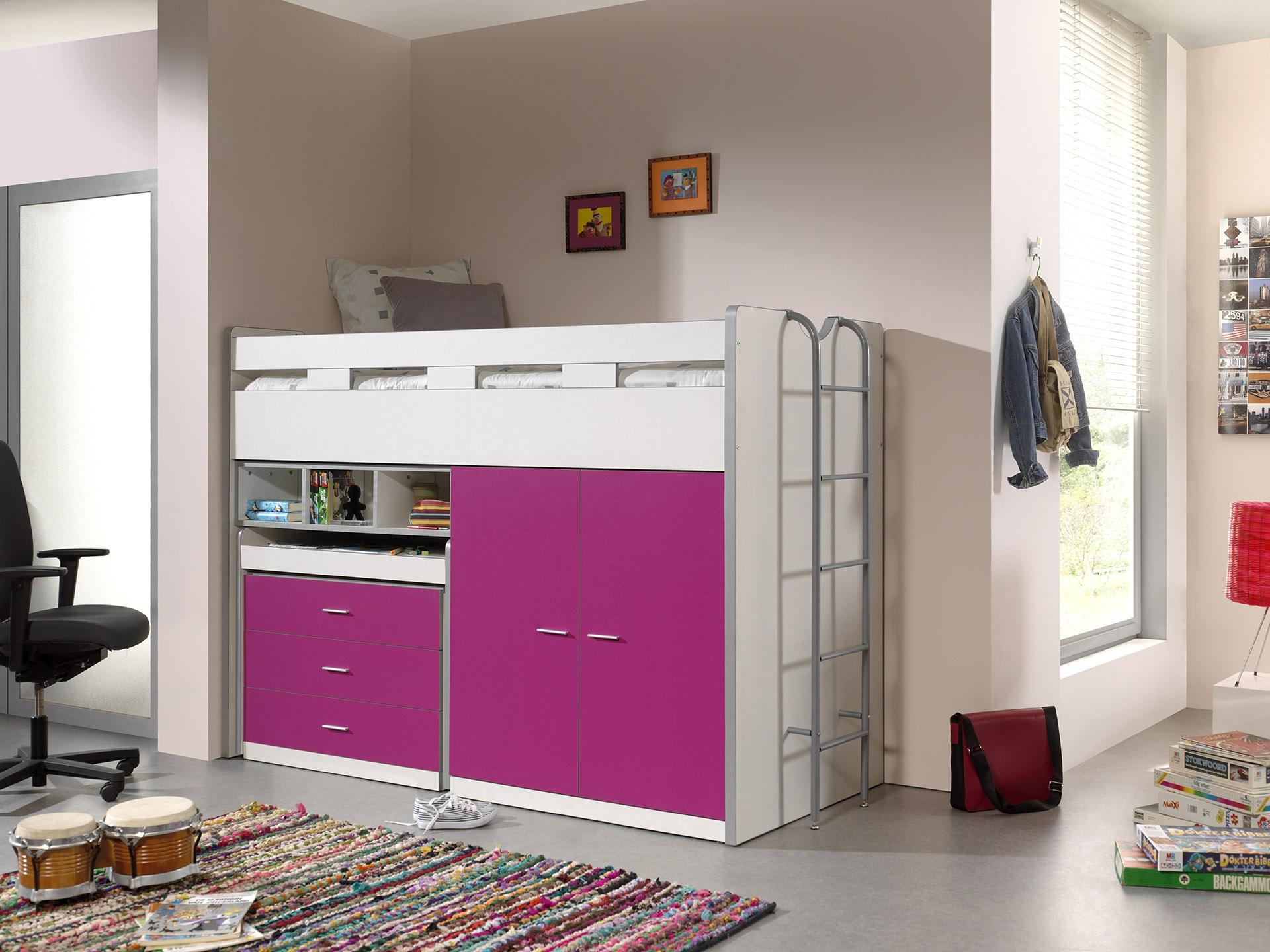 Pat etajat din pal si metal cu birou incorporat, 3 sertare si dulap, pentru copii Bonny High Alb / Fucsia, 200 x 90 cm