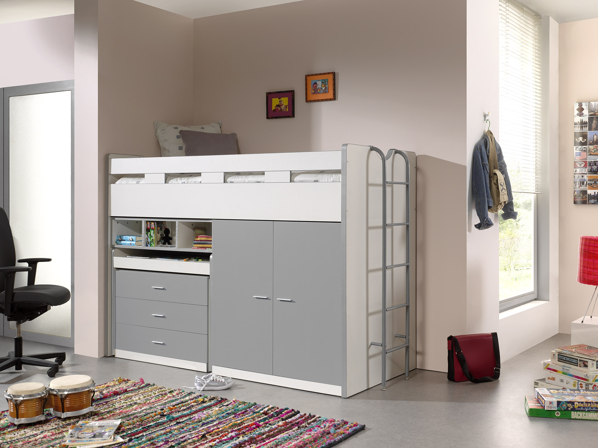 Pat etajat din pal si metal cu birou incorporat, 3 sertare si dulap, pentru copii Bonny High Alb / Gri, 200 x 90 cm