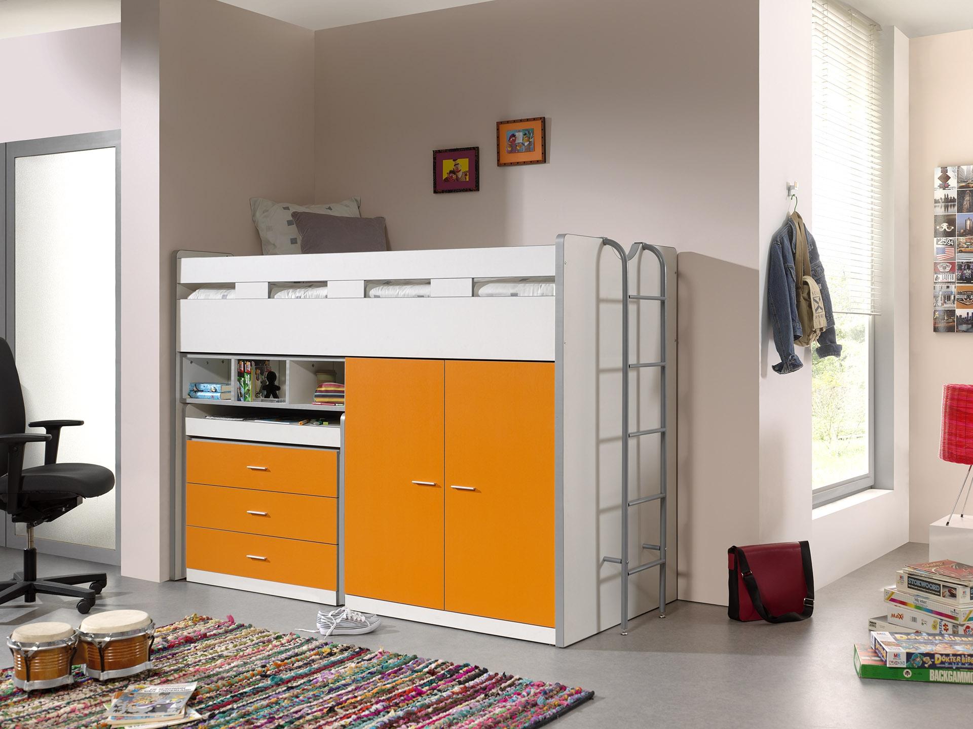 Pat etajat din pal si metal cu birou incorporat, 3 sertare si dulap, pentru copii Bonny High Alb / Portocaliu, 200 x 90 cm