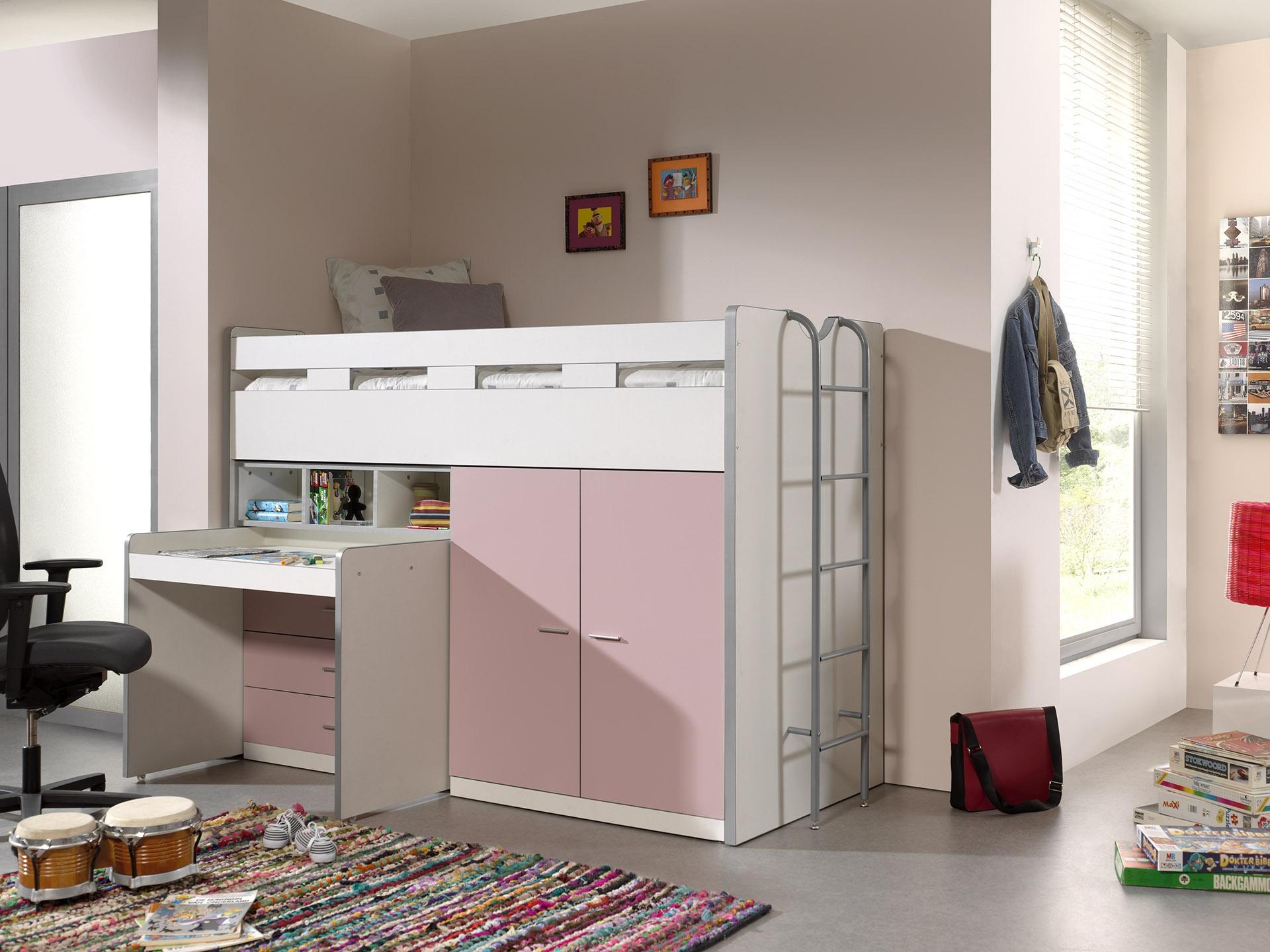 Pat etajat din pal si metal cu birou incorporat, 3 sertare si dulap, pentru copii Bonny High Alb / Roz, 200 x 90 cm