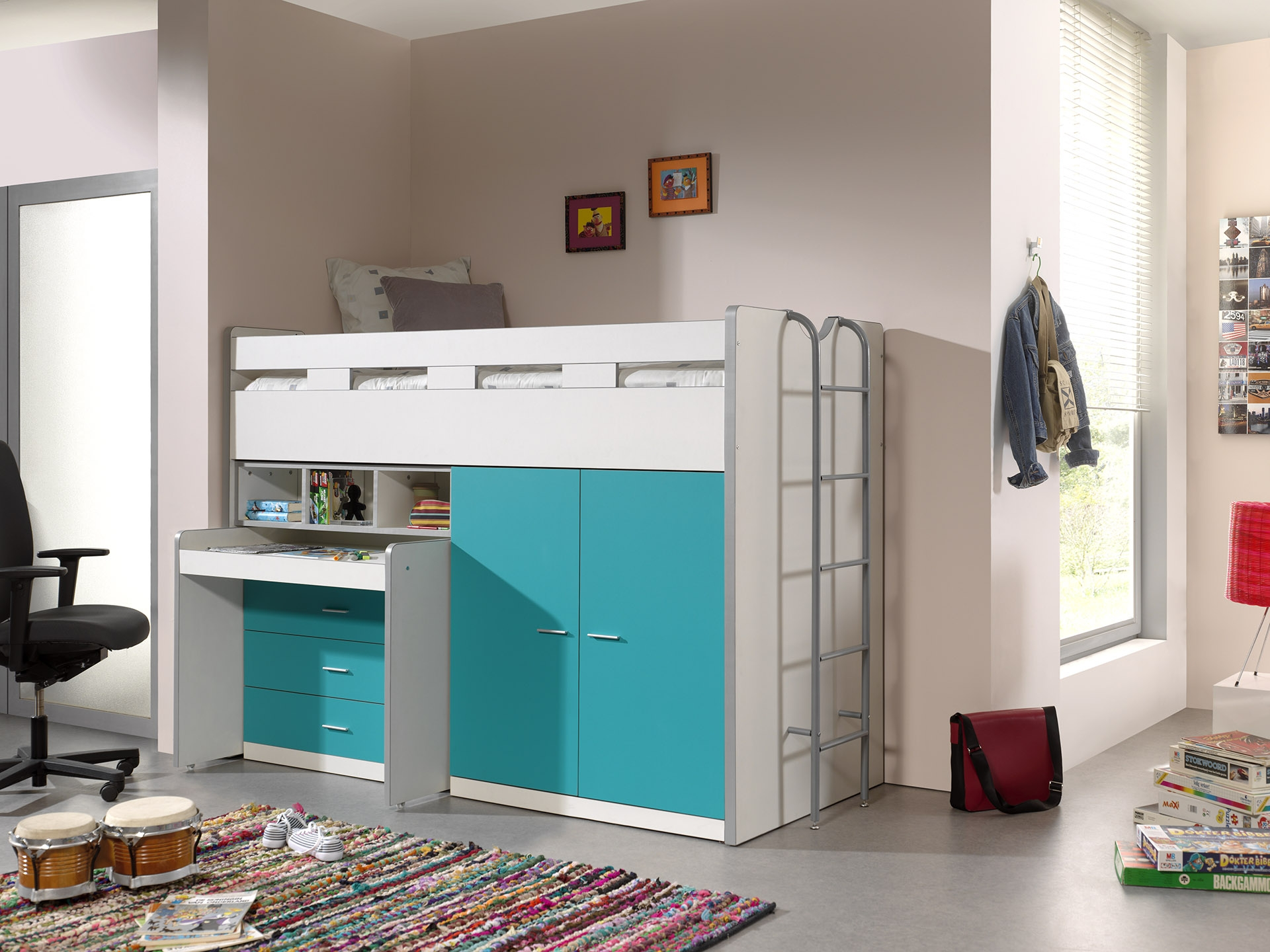 Pat etajat din pal si metal cu birou incorporat, 3 sertare si dulap, pentru copii Bonny High Alb / Turcoaz, 200 x 90 cm