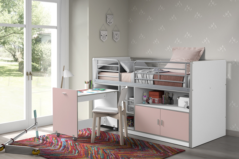 Pat etajat din pal si metal cu birou incorporat si 2 usi, pentru copii Bonny Alb / Roz, 200 x 90 cm poza