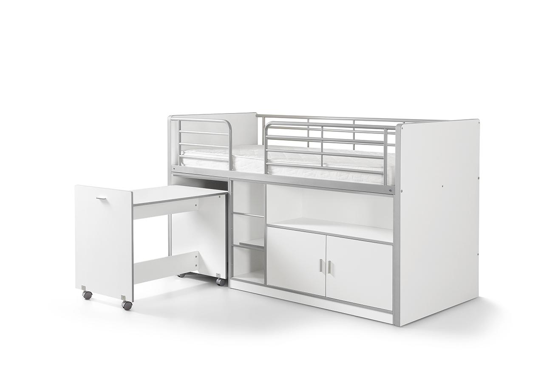 Pat etajat din pal si metal cu birou incorporat si 2 usi, pentru copii Bonny Alb, 200 x 90 cm