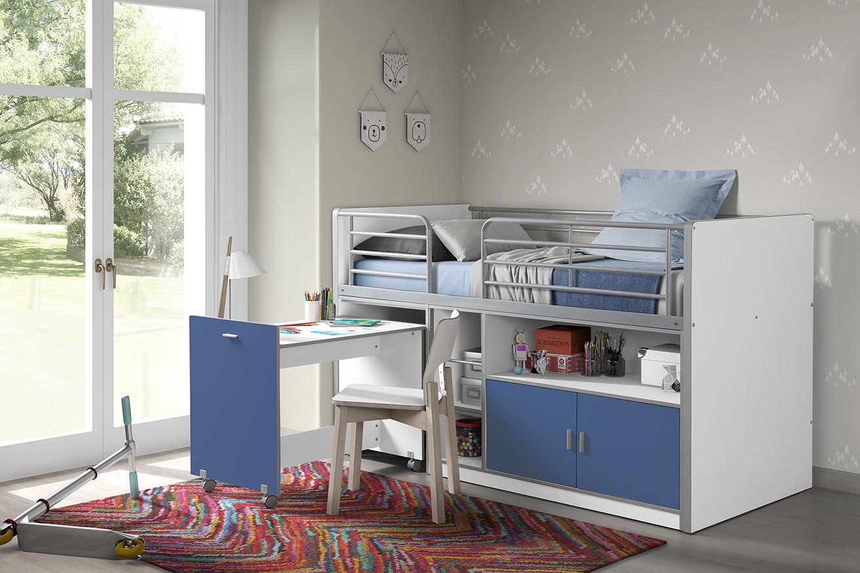 Pat etajat din pal si metal cu birou incorporat si 2 usi, pentru copii Bonny Alb / Albastru, 200 x 90 cm