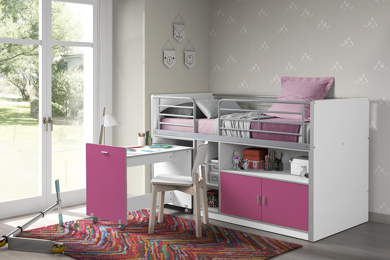 Pat etajat din pal si metal cu birou incorporat si 2 usi, pentru copii Bonny Alb / Fucsia, 200 x 90 cm imagine