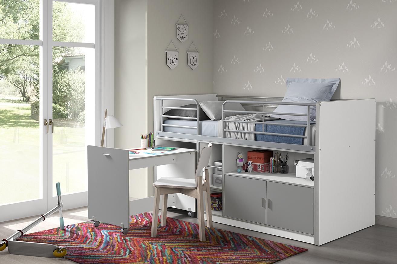 Pat etajat din pal si metal cu birou incorporat si 2 usi, pentru copii Bonny Alb / Gri, 200 x 90 cm imagine