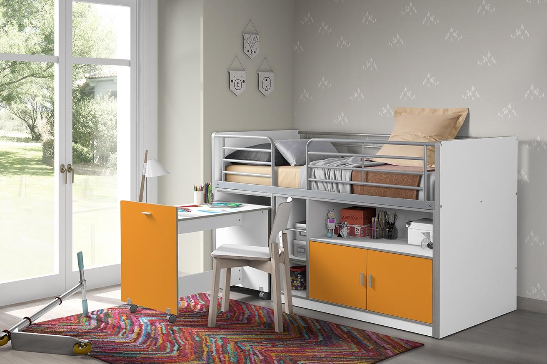 Pat etajat din pal si metal cu birou incorporat si 2 usi, pentru copii Bonny Alb / Portocaliu, 200 x 90 cm
