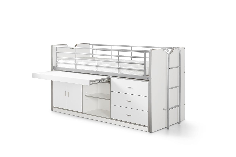 Pat etajat din pal si metal cu birou incorporat si 3 sertare, pentru copii Bonny Alb, 200 x 90 cm