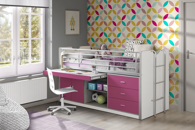 Pat etajat din pal si metal cu birou incorporat si 3 sertare, pentru copii Bonny Alb / Fucsia, 200 x 90 cm