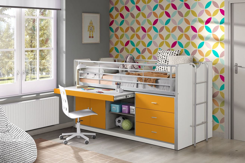 Pat etajat din pal si metal cu birou incorporat si 3 sertare, pentru copii Bonny Alb / Portocaliu, 200 x 90 cm