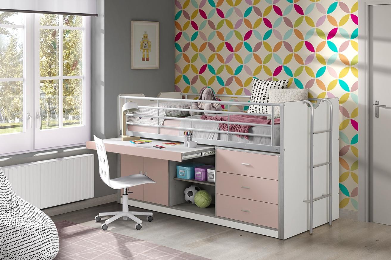 Pat etajat din pal si metal cu birou incorporat si 3 sertare, pentru copii Bonny Alb / Roz, 200 x 90 cm