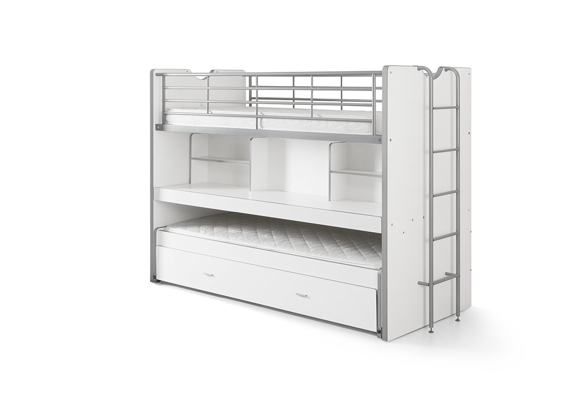 Pat etajat din pal si metal cu birou incorporat si sertar, pentru copii Bonny Alb, 200 x 90 cm