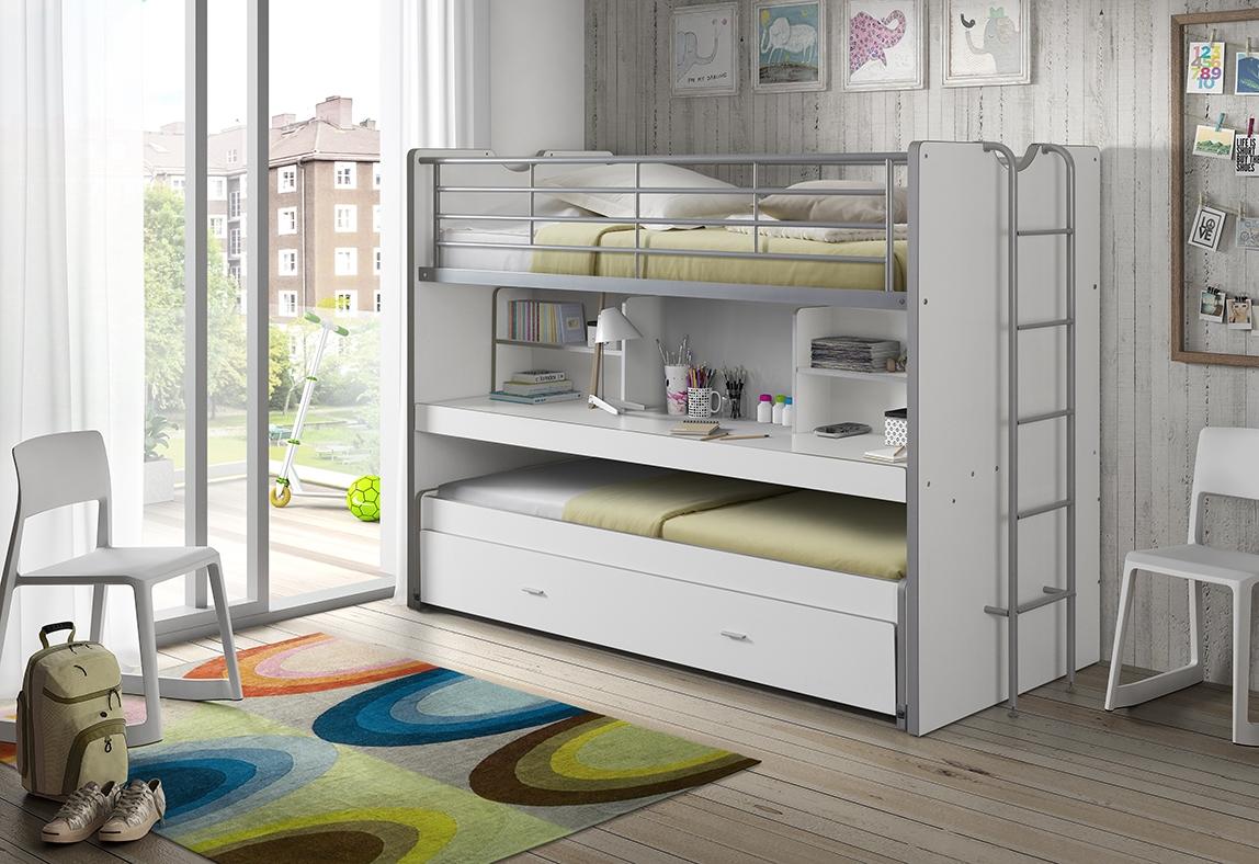 Pat etajat din pal si metal cu birou incorporat si sertar, pentru copii Bonny Alb, 200 x 90 cm poza