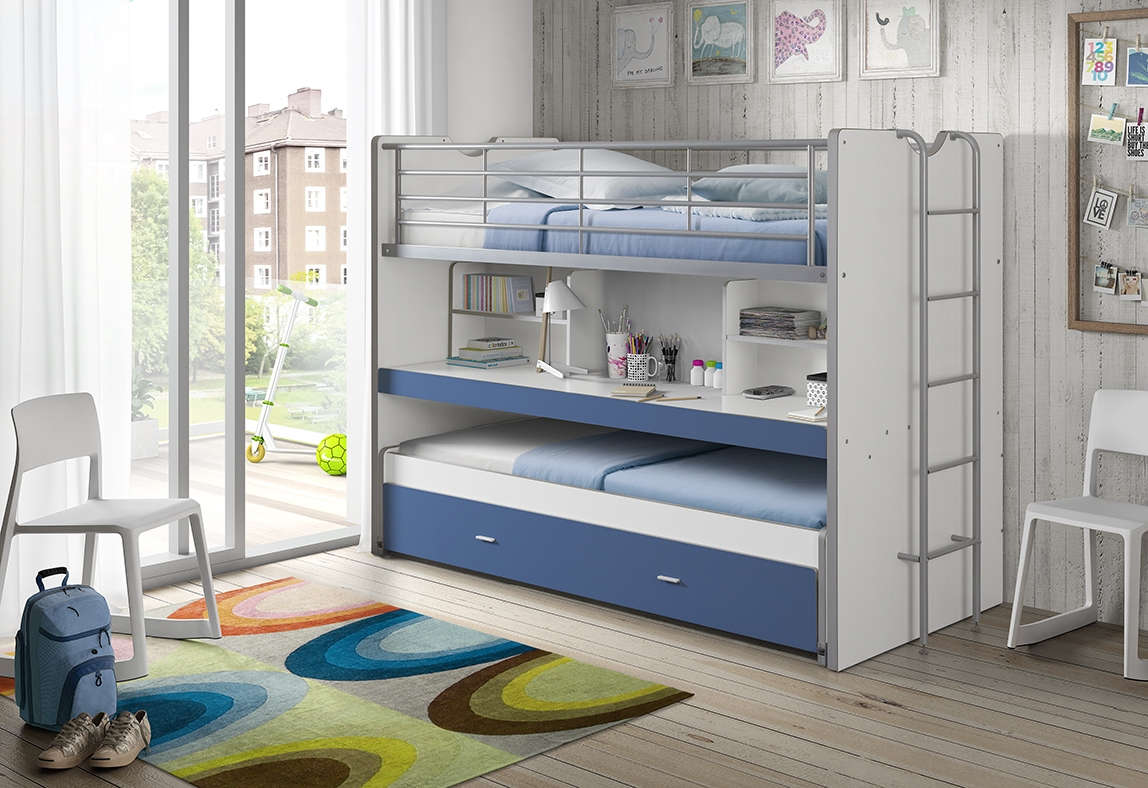 Pat etajat din pal si metal cu birou incorporat si sertar, pentru copii Bonny Alb / Albastru, 200 x 90 cm