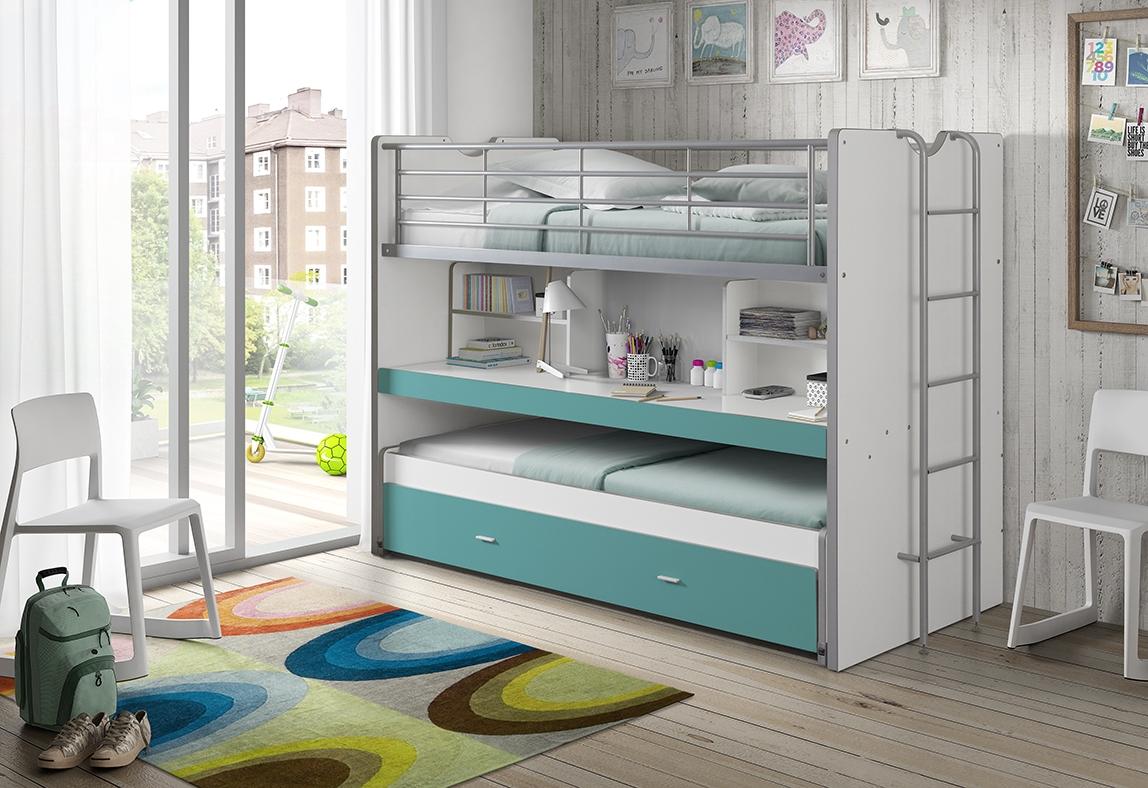 Pat etajat din pal si metal cu birou incorporat si sertar, pentru copii Bonny Alb / Turcoaz, 200 x 90 cm