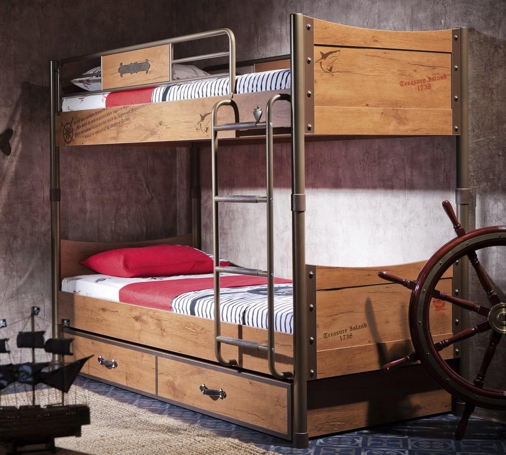 Pat supraetajat din pal si metal cu sertar, pentru copii, Pirate Maro, 200 x 90 cm
