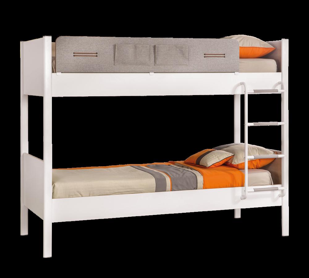 Pat etajat din pal si metal pentru tineret Dynamic White / Light Grey 190 x 100 cm