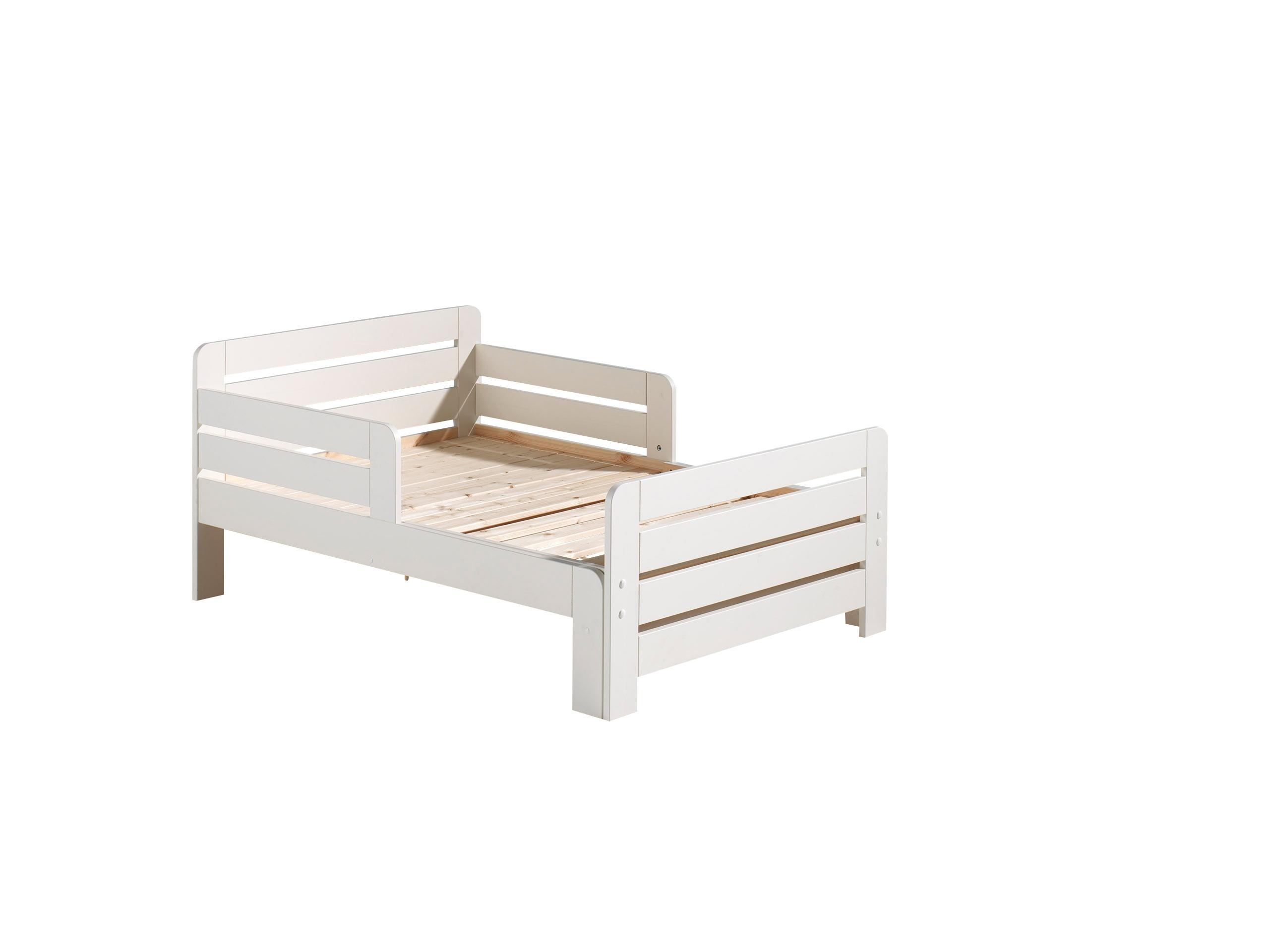 Pat extensibil din lemn de pin pentru copii Jumper Alb, 140 x 90 cm imagine