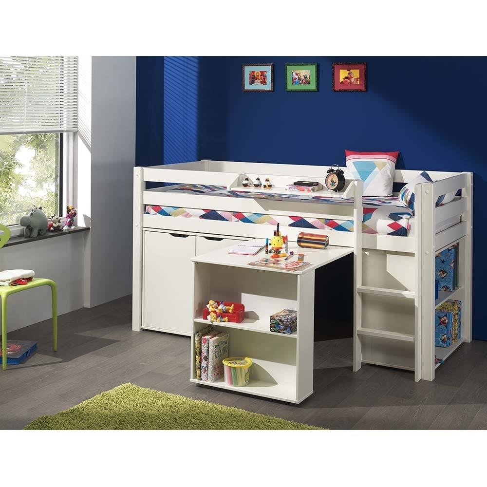 Pat multifunctional din lemn de pin, cu birou si biblioteca pentru copii Pino Alb, 200 x 90 cm