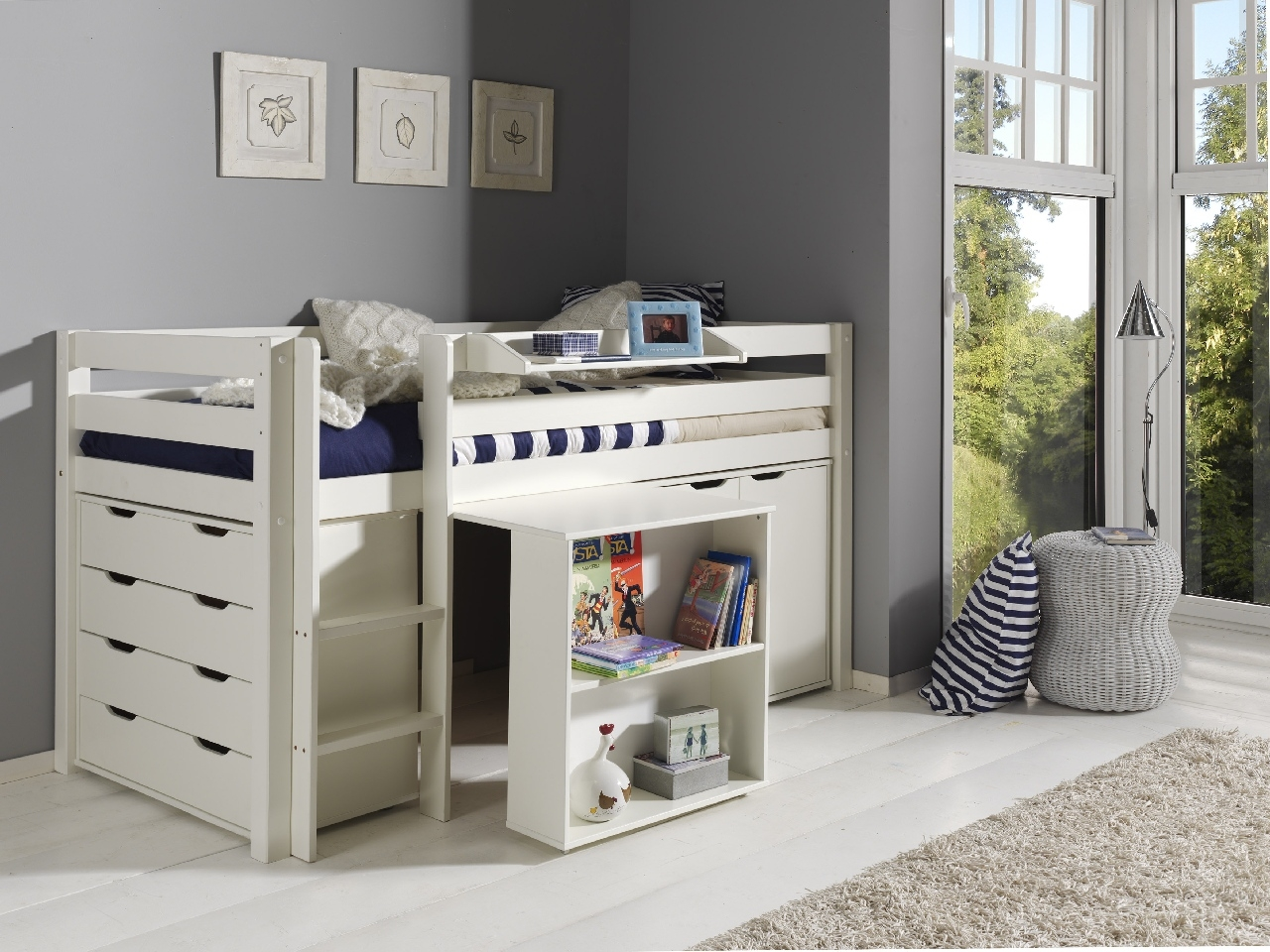 Pat multifunctional din lemn de pin, cu birou si comoda pentru copii Pino Alb, 200 x 90 cm imagine