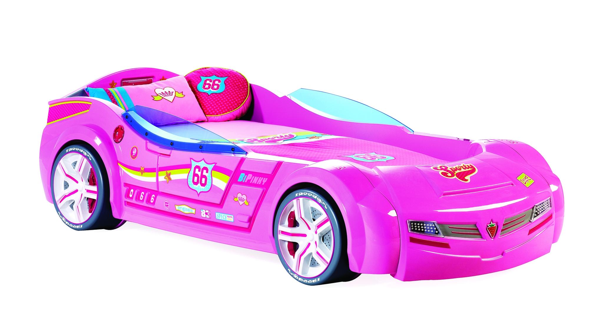 Pat din pal cu lumini si sunete pentru copii Biturbo Pink 195 x 90 cm