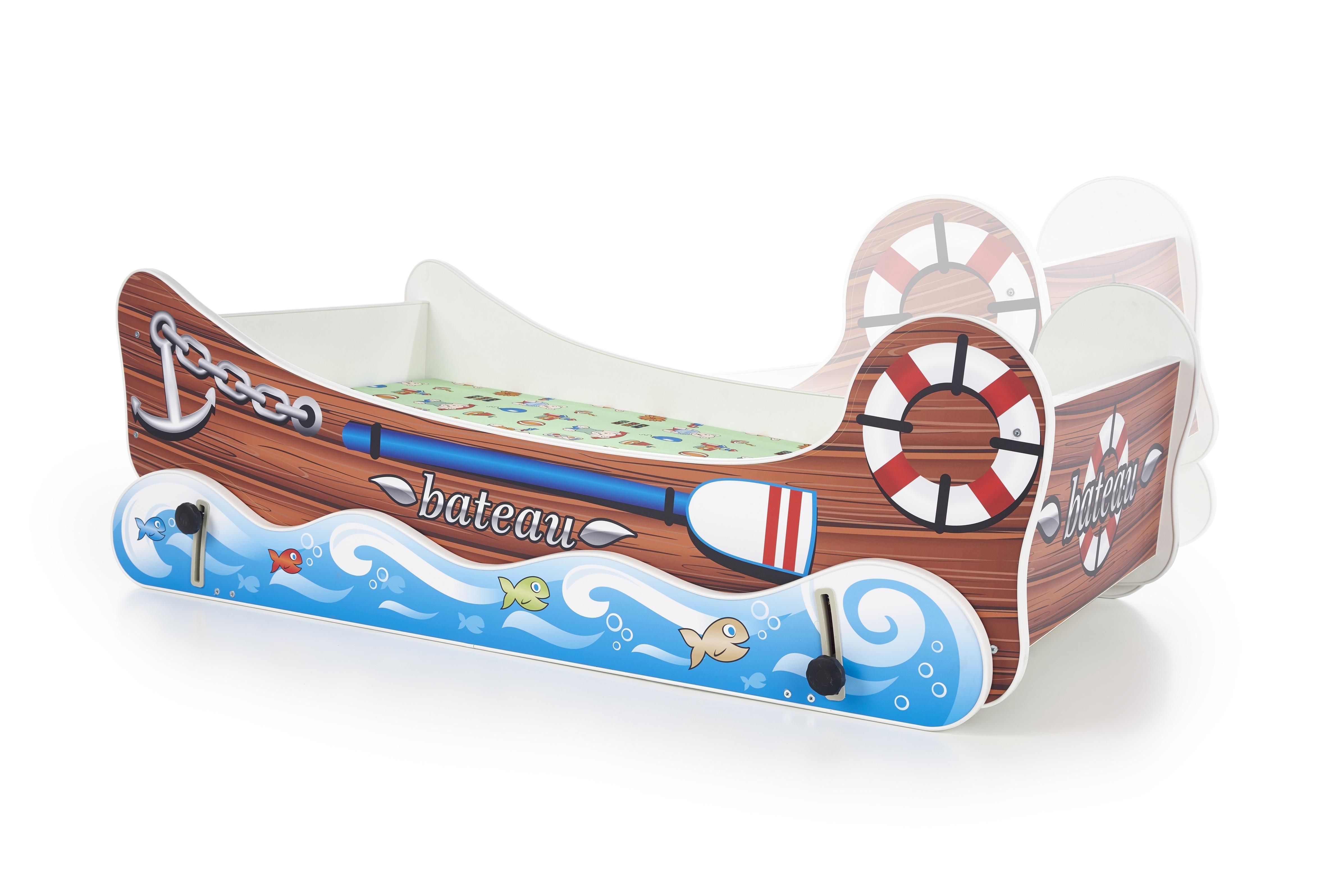 Pat pentru copii Boat Brown / Blue, 140 x 70 cm imagine