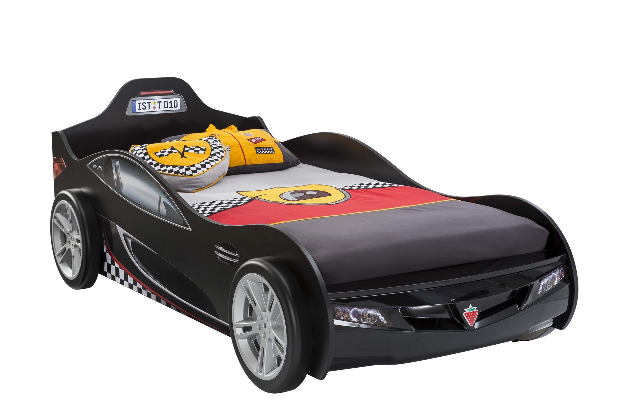 Pat din pal pentru copii Coupe Black 190 x 90 cm