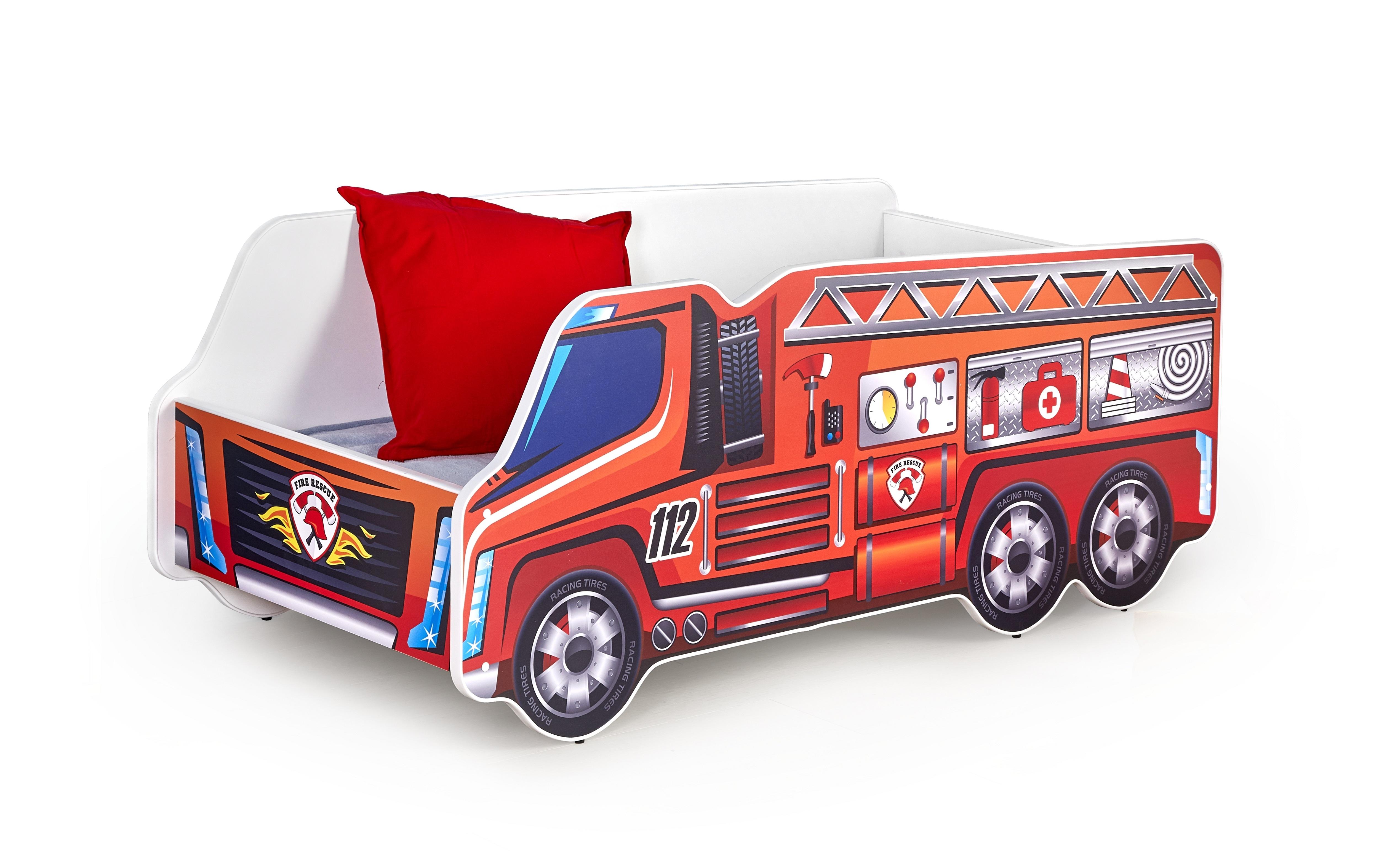 Pat pentru copii Fire Truck Red, 140 x 70 cm