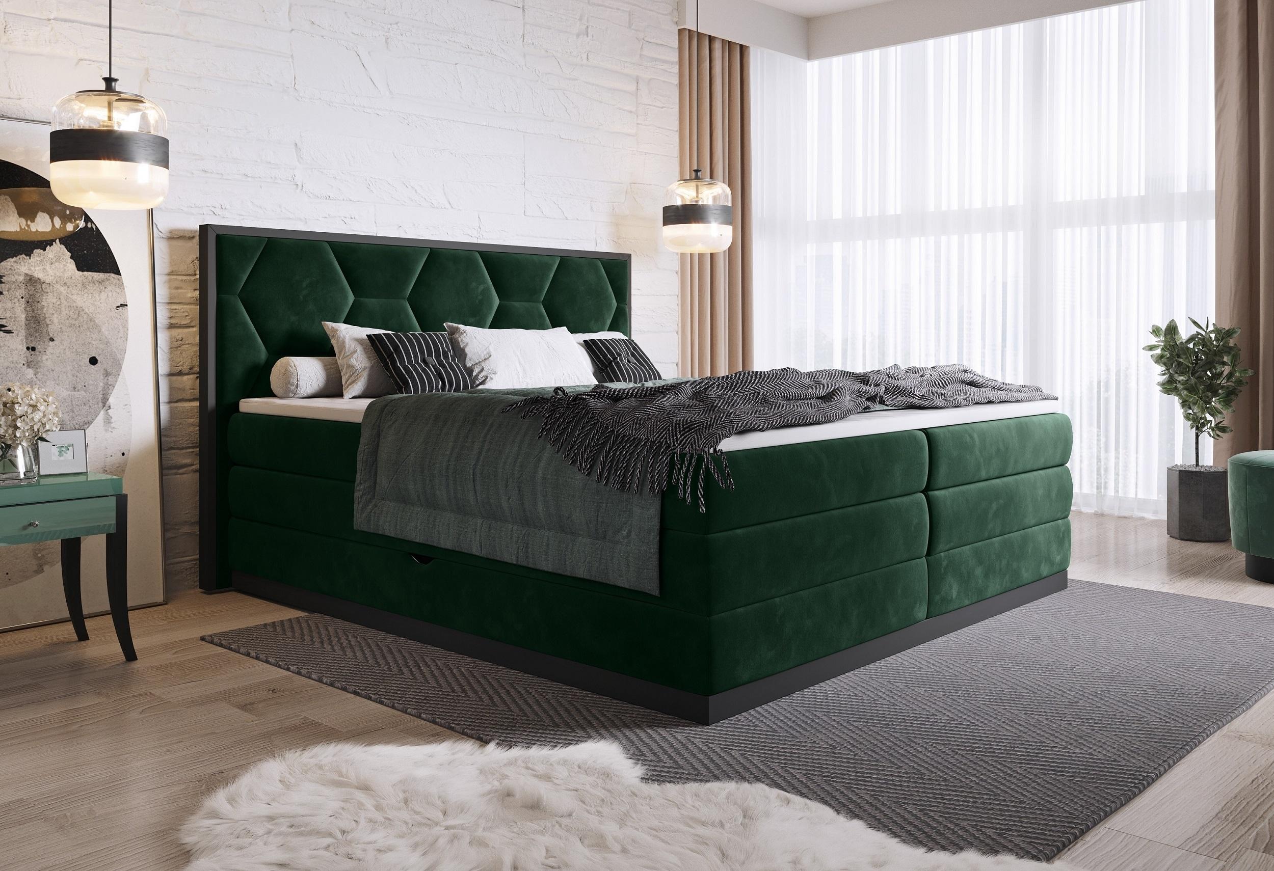 Pat rabatabil cu lada de depozitare, tapitat cu stofa Galia Boxspring Verde inchis, topper inclus, 200 x 160 cm
