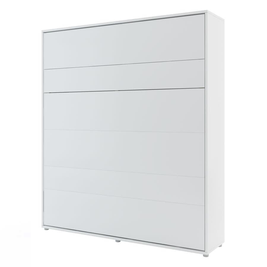 Pat rabatabil pe perete, cu mecanism pneumatic si somiera inclusa, Concept Vertical Alb, 200 x 180 cm imagine