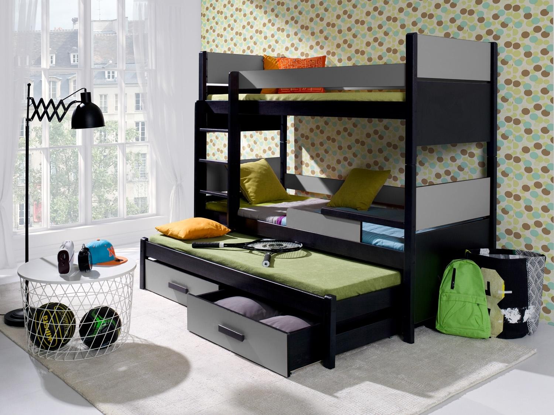 Pat supraetajat din lemn de pin si pal, cu 2 sertare si 3 locuri, pentru copii Augusto, 200 x 90 cm
