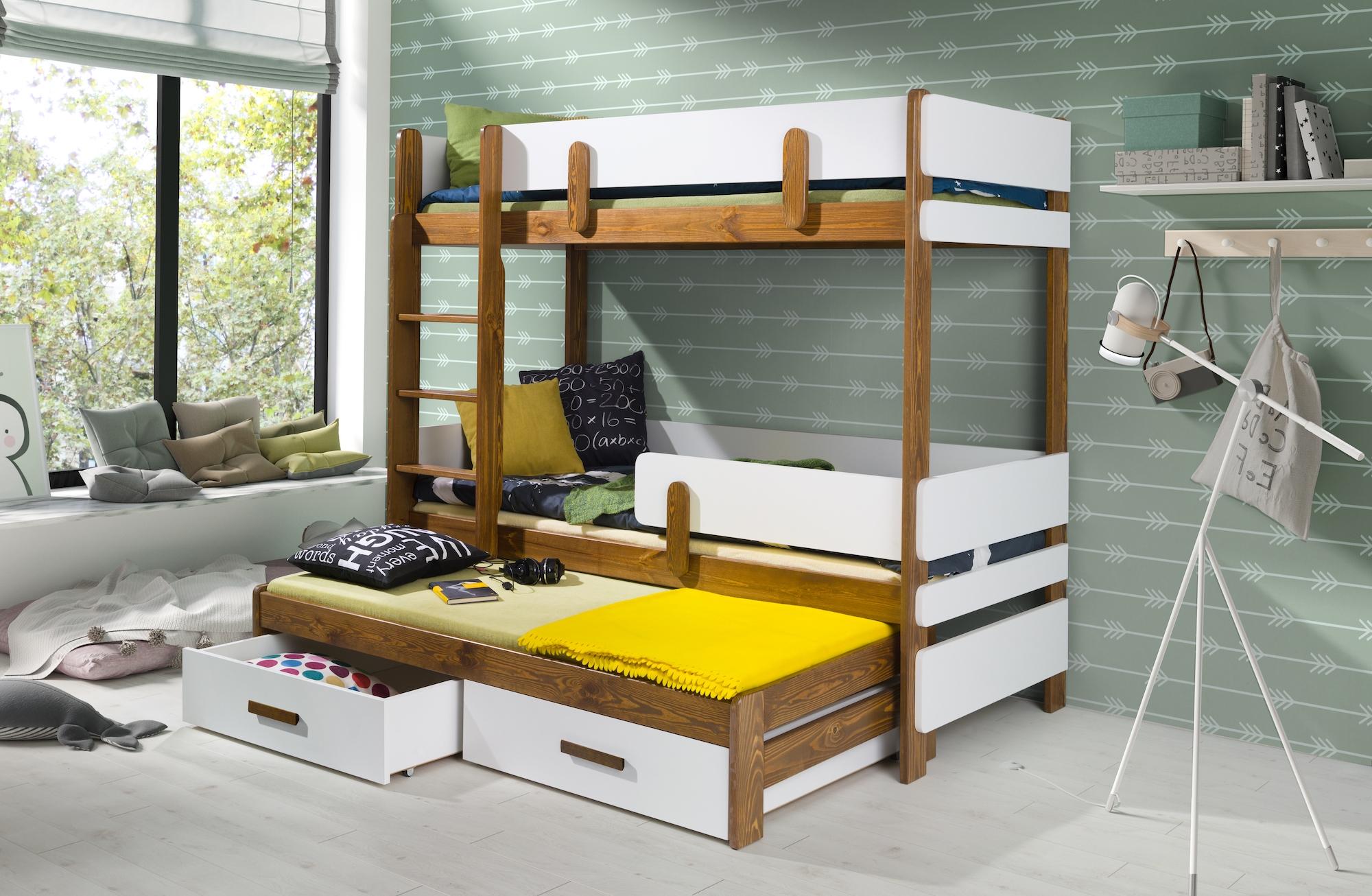 Pat supraetajat din lemn de pin si pal, cu 2 sertare si 3 locuri, pentru copii Ettore III, 200 x 90 cm