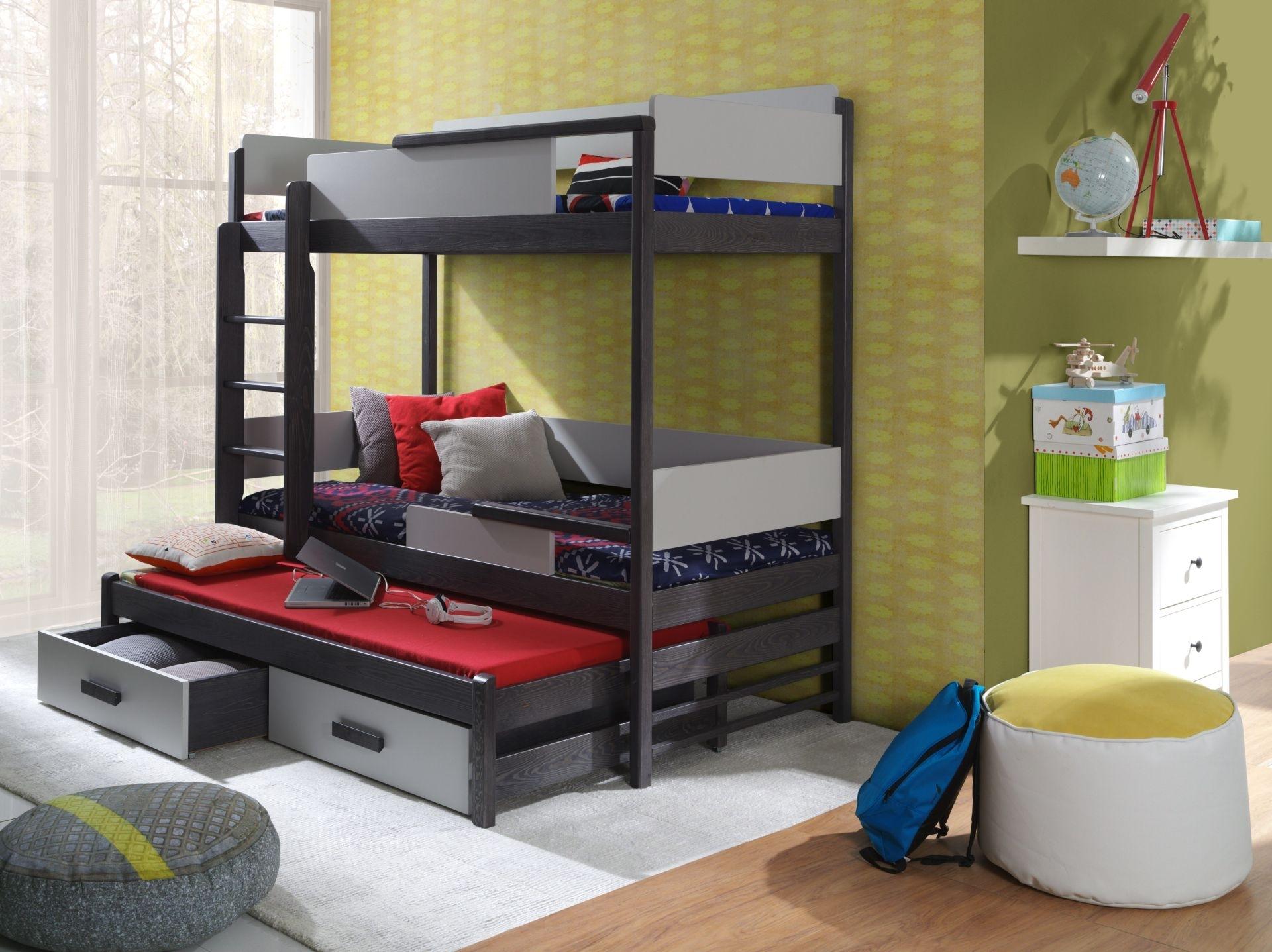 Pat supraetajat din lemn de pin si pal, cu 2 sertare si 3 locuri, pentru copii Quatro, 200 x 90 cm imagine
