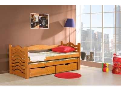 Pat suprapus din lemn de pin, cu 2 sertare pentru copii Mikolaj, 200 x 90 cm imagine