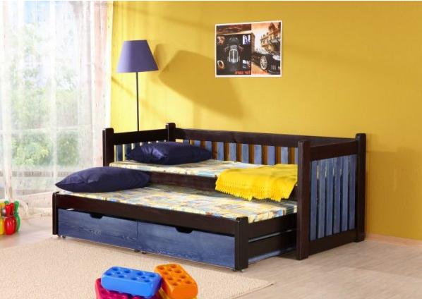 Pat suprapus din lemn de pin, cu 2 sertare pentru copii Filip, 200 x 90 cm imagine