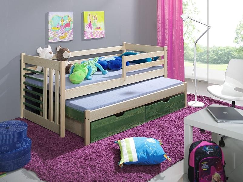 Pat suprapus din lemn de pin, cu 2 sertare pentru copii Simon, 200 x 90 cm din categoria Paturi