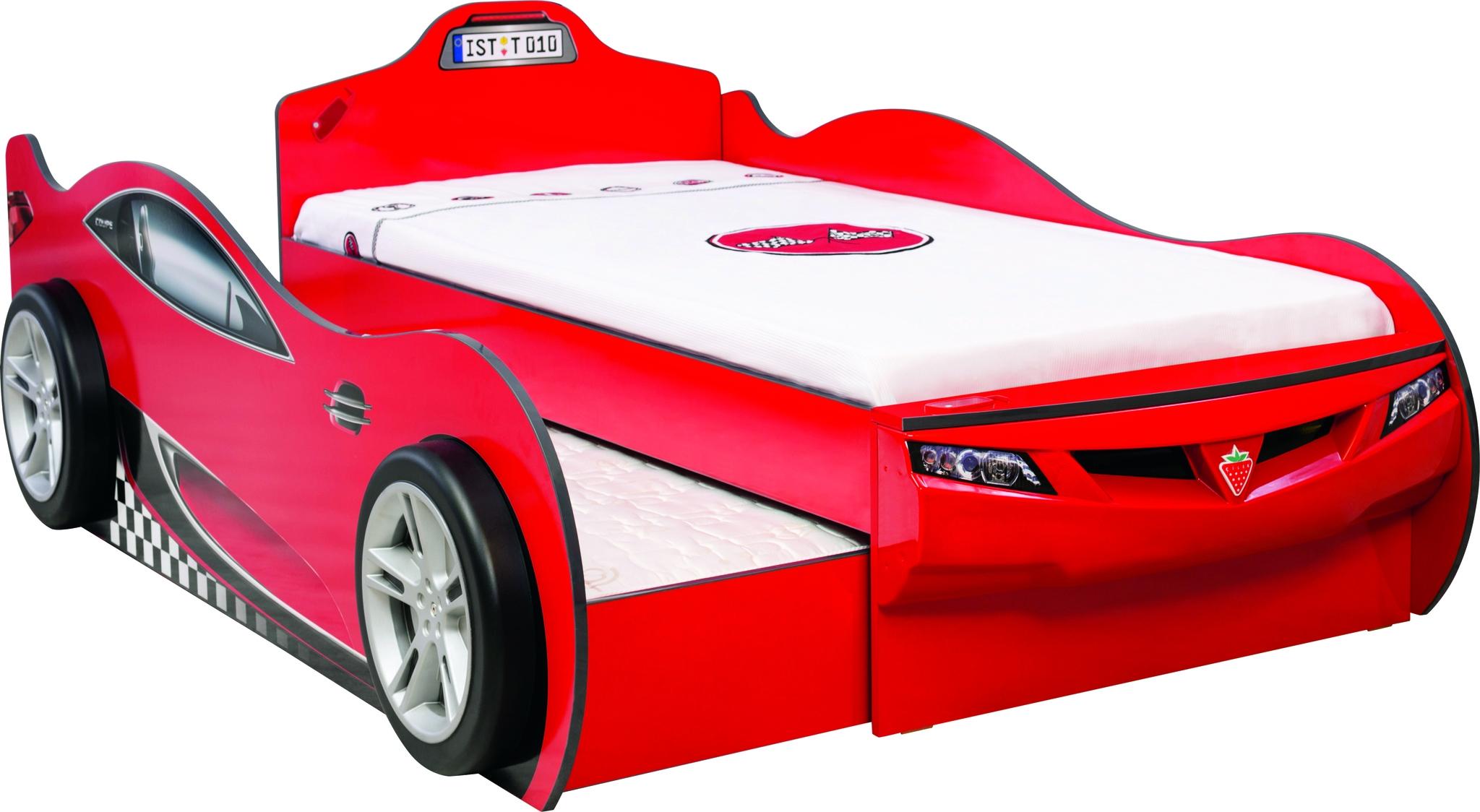 Pat din pal suprapus pentru copii Coupe Red 190 x 90 cm