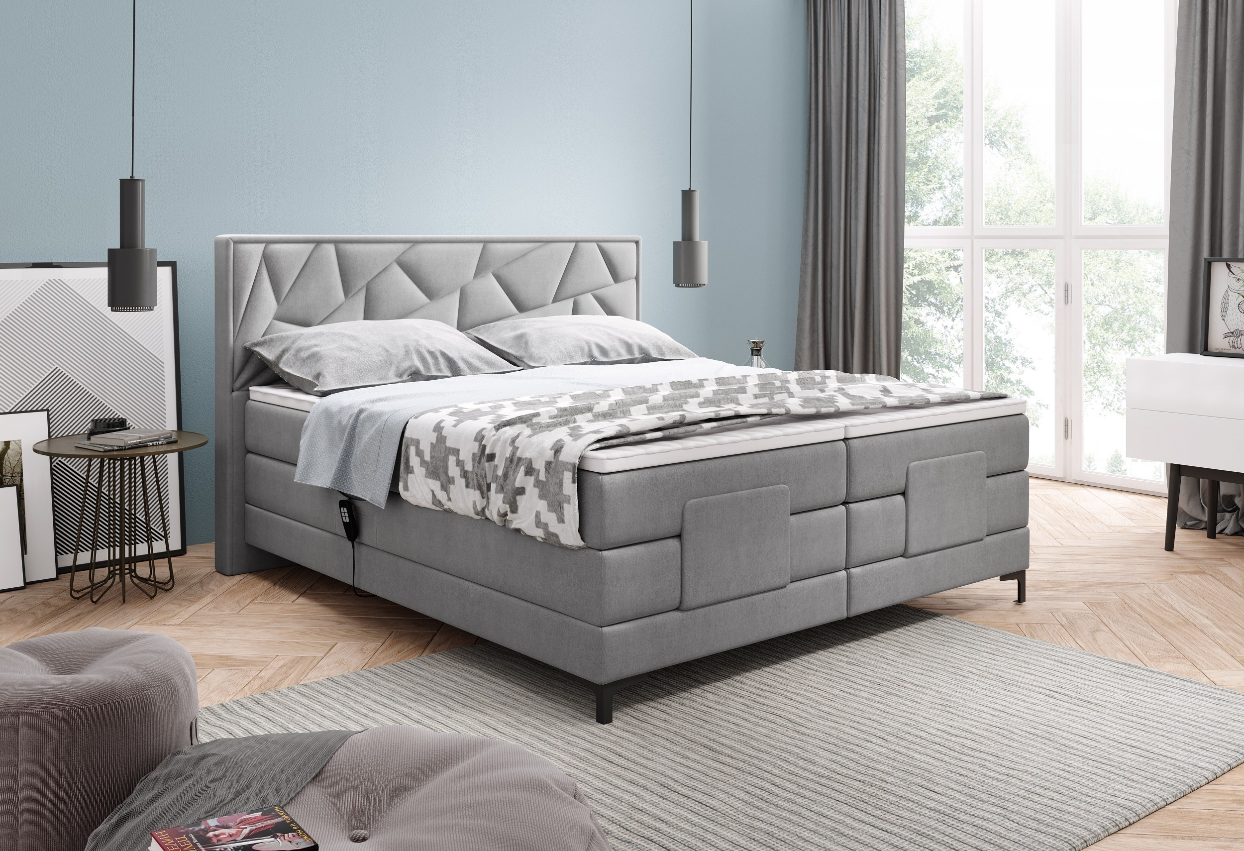 Pat tapitat cu stofa, cu reglaj electric Holme Boxspring Gri deschis, topper inclus, 200 x 160 cm