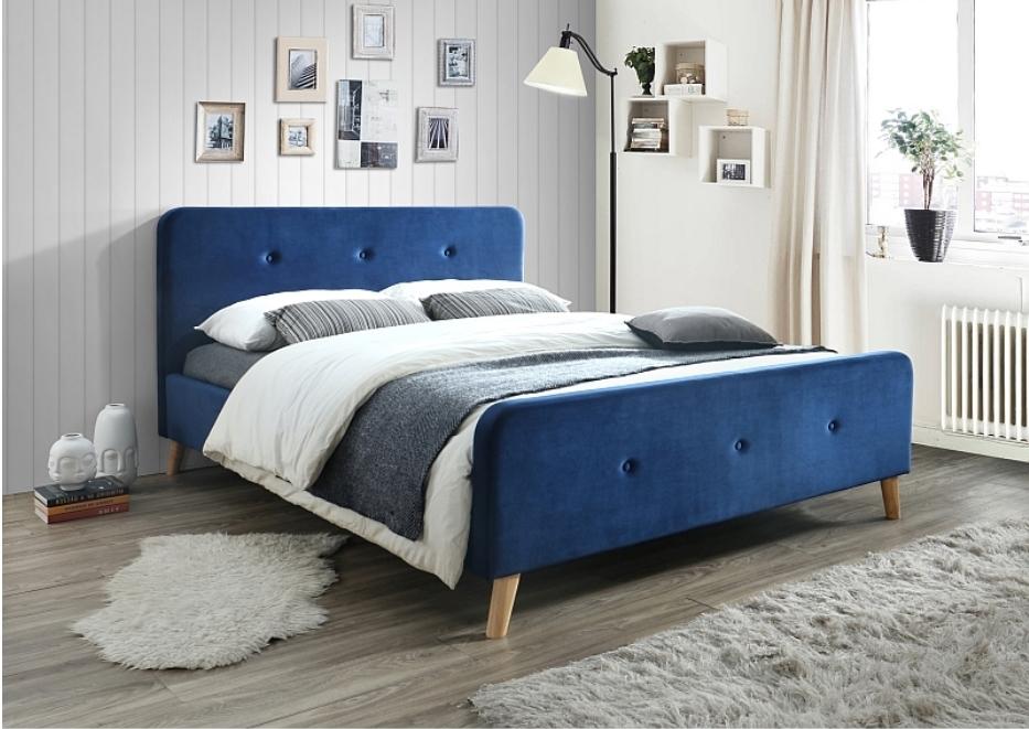 Pat tapitat cu stofa Malmo Velvet Blue 200 x 160 cm