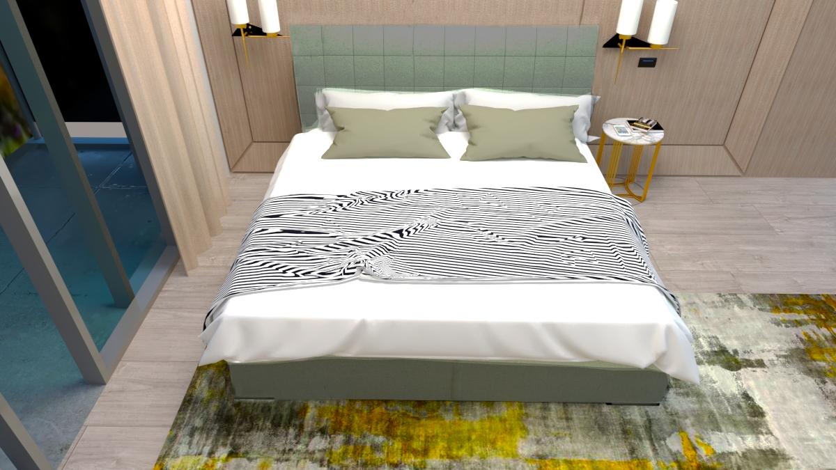 Pat tapitat cu stofa, Somiera Rabatabila si lada de depozitare, picioare din lemn, Madison Prestige, 200 x 180 cm imagine