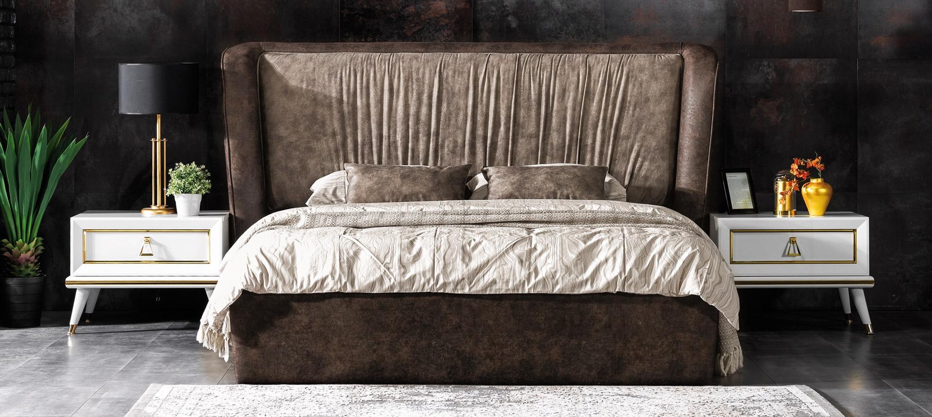 Pat tapitat cu stofa Toscana Maro, 200 x 160 cm somproduct.ro